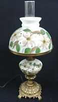 """Vtg 24"""" Dogwood Flower Shade & Font Parlor GWTW Lamp - Solid Brass Hand Painted"""
