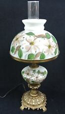 """Vtg GWTW Electric Table Lamp Dogwood Flower Rayo Shade & Font - Solid Brass 24"""""""