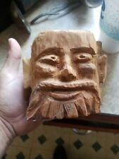 "HAND CARVED WOOD CEDAR TREE SPIRIT MAN FACE WIZARD FOLK ART 5 1/2""  AMAZING"
