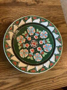 Vintage Kütahya Plate Ceramic Glazed Decorative Floral Pottery Turkish Green/red