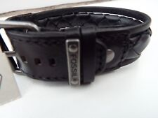 NEW Fossil black leather bracelet with metal fossil logo ja6115797 RRP £45