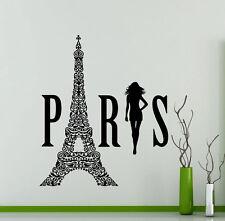 Paris Logo Wall Decal Eiffel Tower Fashion Girl Vinyl Sticker Home Mural (210xx)