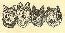Wolf Face Border, Wood Mounted Rubber Stamp NORTHWOODS - NEW, O6559