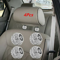 Bling Car Accessories Charms Rhinestone Headrest Seat Spark Crystal Decors 4Pcs