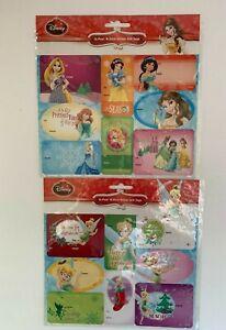 2 Pkgs 16 Tags Each Disney Peel & Stick Glitter Gift Tags Princesses Tinkerbell