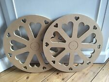 Candy Sweet Cart Wheels X 2 With Love Hearts Ready to Paint New 80cms