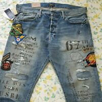 Mens Ralph Lauren Military Patched Varick Slim Straight Jeans Ltd Edition
