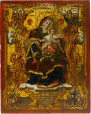 Old Antique Greek Icon of Mother of God, 1860