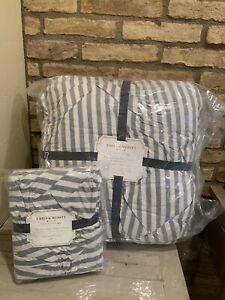 Pottery Barn Teen Emily & Meritt Striped TWIN comforter SHAM chambray
