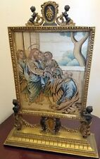 ANTIQUE METAL CHURCH TABERNACLE FRAME STAND GOLD GILT 2 SIDES WITH SILK EMBRDRY