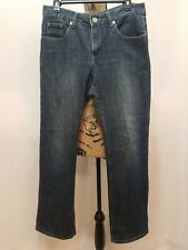 BOGARI Straight Leg Jeans Size 6 Medium Wash Distressed Ramie Stretch Denim