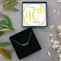 Silver Infinity Necklace 40th Birthday Gift Ladies Present Fortieth Jewellery