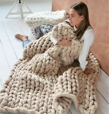 Merino wool blanket Chunky knit blanket Twin size Throw blanket Christmas gifts