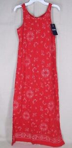 CHAPS by Ralph Lauren Youth Girl's Knot Back Sleeveless Maxi Dress Red L, XL NEW
