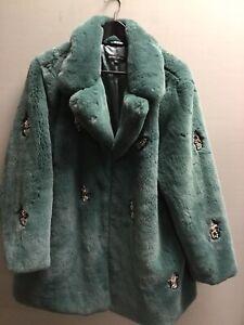 Ladies Green Faux Fur Jewelled Winter Capsule Coat UK XL