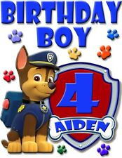 PERSONALIZED CUSTOM CHASE PAW PATROL BIRTHDAY SHIRT ADD NAME & AGE FOR FAMILY