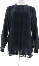 Isaac Mizrahi Plaid Chiffon Button Front Tunic Dark Navy 16 # A283789