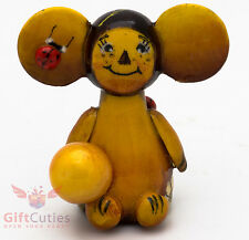 Wooden Cheburashka w orange Чебурашка figurine handmade & hand painted in Russia