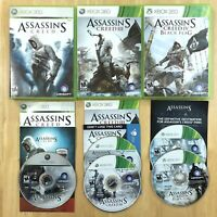 Assassins Creed 1 3 Black Flag Xbox 360 Bundle Lot Complete Manual Insert Tested