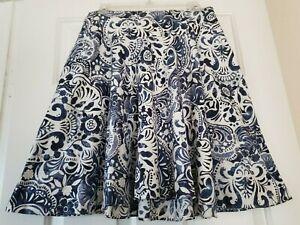 LAUREN RALPH LAUREN Skirt Sz 6P Blue White Batik Floral Paisley Fit & Flare