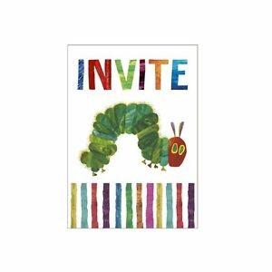 The Very Hungry Caterpillar Birthday Party Invitations x 8 With Envelopes