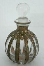 Vintage Brass Overlay Perfume Bottle