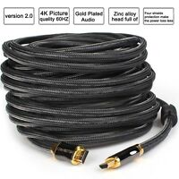 15ft/25ft/30ft/50ft Gold Braided HDMI 2.0 Cable Redmere Chip CL3 4K UHD In Wall