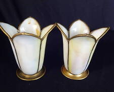 Circa 1900 Pair of Tulip-Form Slag Glass Panel Early Electric or Gas Shades