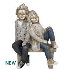 New Denim Chic Boy And Girl On Bench Figurine 21cm CIMC Home