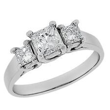 1.08ctw Prong Set 3-STONE Princess Cut Diamond Engagement Ring in 14K White Gold