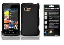 Screen Protector + Black Hard Shell Cover Phone Case for Kyocera Rise C5155