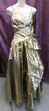 Golden Copper Lame' Rhinestone Strap Prom Wed Formal Gown sz Xs