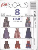 McCall's 8428  Girls' Jumper, Romper and Detachable Collar 7,8,10 Sewing Pattern