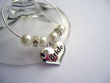 6 PERSONALISED WINE GLASS CHARMS: BRIDE, GROOM, BRIDESMAID. WEDDING FAVOUR