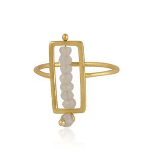 Beaded Moonstone 925 Silver Gold Plated Handmade Frame Design Women's Ring