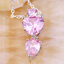 "EPIC FASHION-Pink Topaz Gemstone Silver Chain Pendant-18"" Sterling Chain"