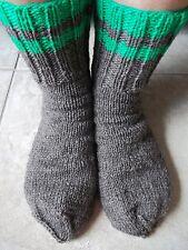 Hand knitted 100% wool socks, heather brown, men's or women's