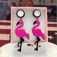 Big Acrylic Flamingo Drop Earrings For Women Girl's Punk Birds Dangle Long