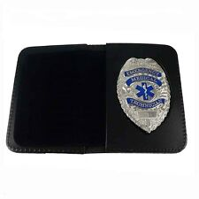 EMT Emergency Medical Technician Silver Badge Leather Case Wallet Novelty