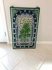 Gorgeous Vintage Handcrafted  Hanging Stained  Glass Panel of Palm Scene