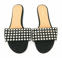 Bamboo Sandals Flats Womens Black Gold Silver Embellishment