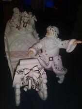 2000 Grandeur Noel Porcelain Christmas Sleigh and Santa White and Gold Trimmed
