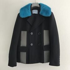 Prada Pop Art Decor Blue Mink Collar Pea Coat Jacket 46