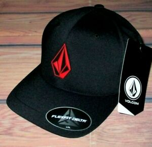 MENS VOLCOM FLEXFIT DELTA BLACK HAT FITTED CAP SIZE L/XL