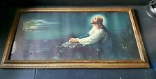 Vintage religious Jesus picture praying in the garden of Gethsemane wooden frame
