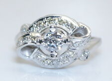 WOW! Antique Women's 14K White Gold .60 TCW European Cut Diamond Ring Size 6.25