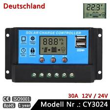 30A 12V-24V PWM LCD Bildschirm Auto Solarpanel Solarregler Timer mit Dual USB BP