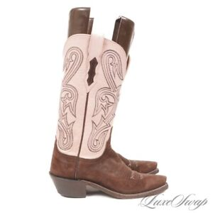 Lucchese 1883 Made USA Pink Leather Brown Suede 15468 Western Cowboy Boots 5.5