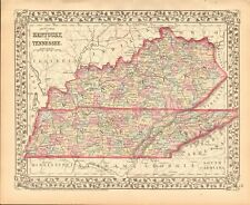 1874 ANTIQUE MAP - USA - KENTUCKY AND TENNESSEE
