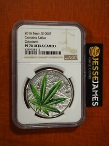 2016 BENIN PROOF SILVER COLORIZED CANNABIS SATIVA NGC PF70 1 OZ .999 W BOX/ COA